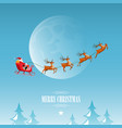 merry christmas santa claus drives sleigh on sky vector image vector image