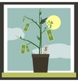 Money Sprouting - dollar bills sprouting from vector image vector image