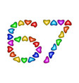 number 67 sixty seven of colorful hearts on white vector image vector image