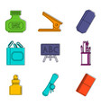 office tool icon set color outline style vector image vector image