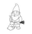 outline garden gnome vector image