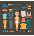 Paper doll man template vector image vector image