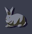 paper sticker on stylish background rabbit vector image