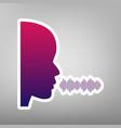 people speaking or singing sign purple vector image vector image