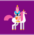 princess on white horse and smartphone daughter vector image vector image