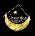 ramadan kareem with golden moon vector image