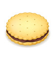 realistic detailed 3d cookie or sandwich biscuit vector image vector image