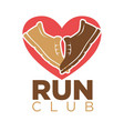 run club heart and sport sneakers shoes vector image vector image