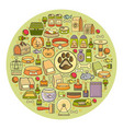 set of flat design cute colorful pet icon vector image
