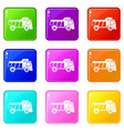 toy truck icons 9 set vector image vector image