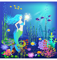 underwater world little mermaid fishes sea vector image vector image