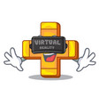 virtual reality retro plus sign addition symbol vector image vector image