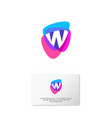 w logo multicolor shapes business card vector image vector image
