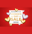 women day sale poster on gold glitter heart vector image vector image
