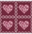 Vintage floral hearts pink red background vector image