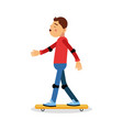 young boy skateboarding cartoon character kids vector image