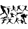 baseball players silhouette set vector image vector image