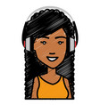 beautiful woman with earphones avatar character vector image vector image