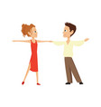boy and a girl are dancing on a white background vector image