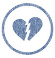 broken heart rounded fabric textured icon vector image vector image
