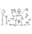 cartoon man politician or businessman throwing vector image vector image