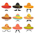 cartoon mexican sombrero hat signs icon set vector image vector image