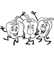 cartoon peppers vegetables for coloring book vector image vector image