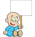 cartoon smiling baby holding a s vector image vector image