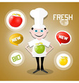 Cook - Chef with Apples and Fresh New Bio Icons vector image