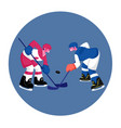 couple young men in sports uniform with sticks vector image vector image