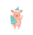 cute little pig wearing santa hat standing with vector image