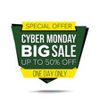 cyber monday sale banner sale background vector image