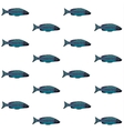 decorative pattern with blue fish on white vector image vector image