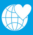 earth world globe with heart icon white vector image