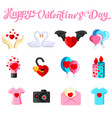 flat with valentine s day iconss vector image vector image