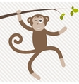 funny monkey hanging on the tree vector image vector image
