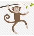 funny monkey hanging on tree vector image