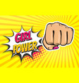 girl woman power fist pop art style vector image