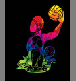 group water polo players action cartoon vector image vector image