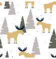 Hand drawn seamless pattern with funny elk in a