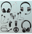 headphones headset and earphones stereo vector image vector image