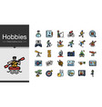 hobbies icons filled outline design icon set of vector image