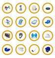 hockey cartoon icon circle vector image vector image