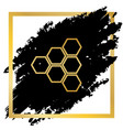 honeycomb sign golden icon at black spot vector image