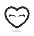 icon cartoon heart with closed eyes vector image vector image
