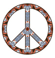 international peace symbol with flowers vector image vector image