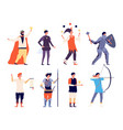 male medieval characters flat king prince jester vector image