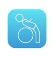 Man doing exercises lying on gym ball line icon vector image vector image