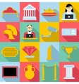 Museum icons set flat style vector image vector image