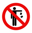 No littering sign vector image vector image